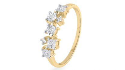 טבעת זהב צהוב מעוצבת בשיבוץ עדין R-RR329