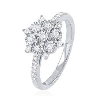 טבעת אירוסין זהב לבן משובצת יהלומים R-RR330W