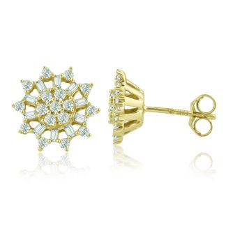 עגילי זהב צמודים משובצים יהלומים