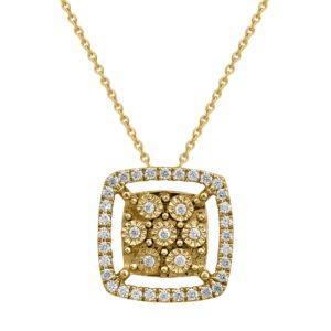 שרשרת זהב מהממת  משובצת תליון יהלומים בצורת ריבוע