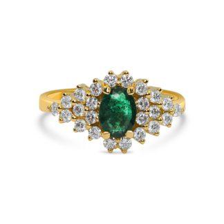 טבעת מרהיבה משובצת יהלומים ואמרלד