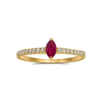 טבעת זהב משובצת רובי ויהלומים